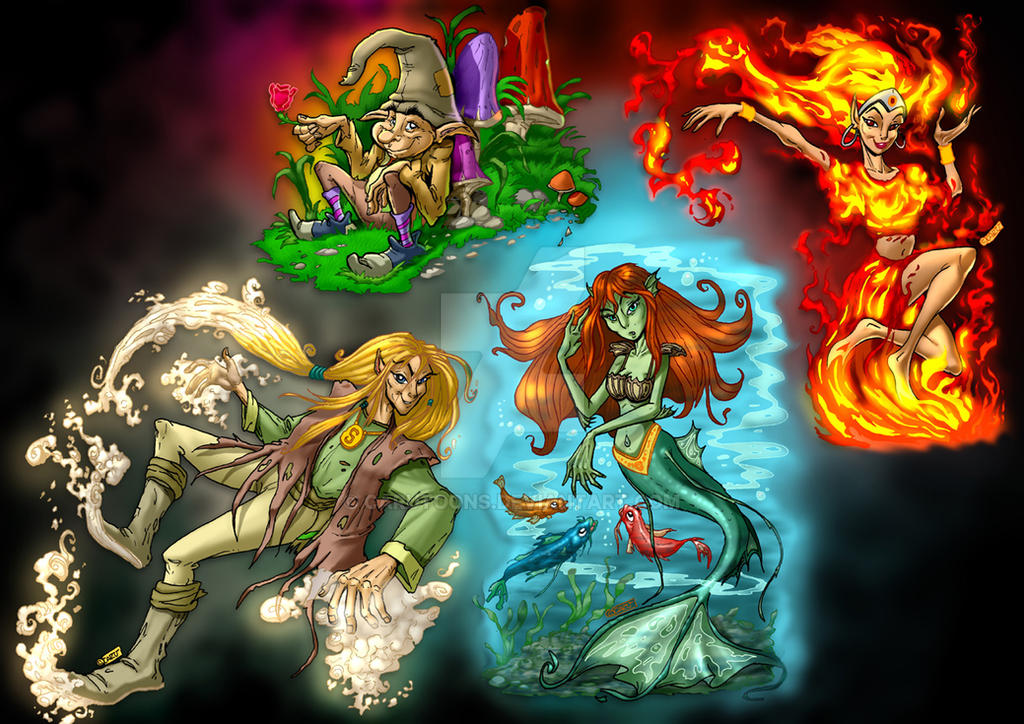 4 Elements Of Art : The four elements by carutoons on deviantart