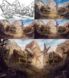 Steampunk Desert - Process by Jcinc1
