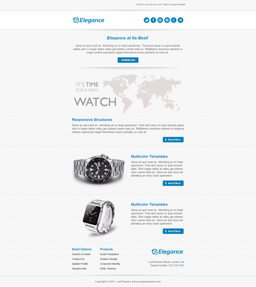 elegance responsive email template by lordthemes on deviantart