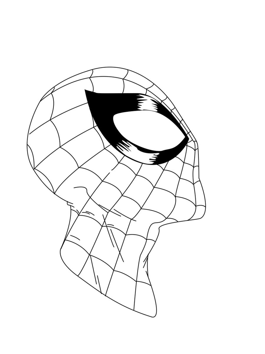 Spiderman Face Line Drawing : Spider man face sketch inked by roach on deviantart