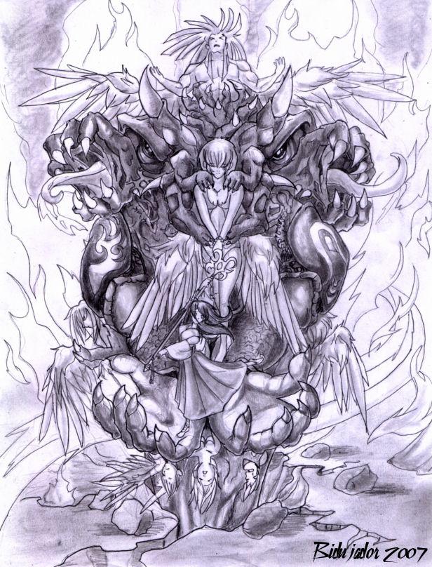 Summoner and Aeon by bidujador