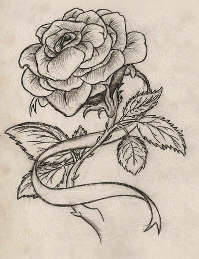 Rose with Ribbon Tattoo by Maszeattack on DeviantArt  Rose with Ribbo...
