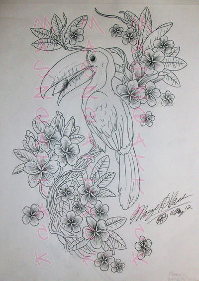 toucan and plumerias tattoo design by maszeattack on deviantart. Black Bedroom Furniture Sets. Home Design Ideas