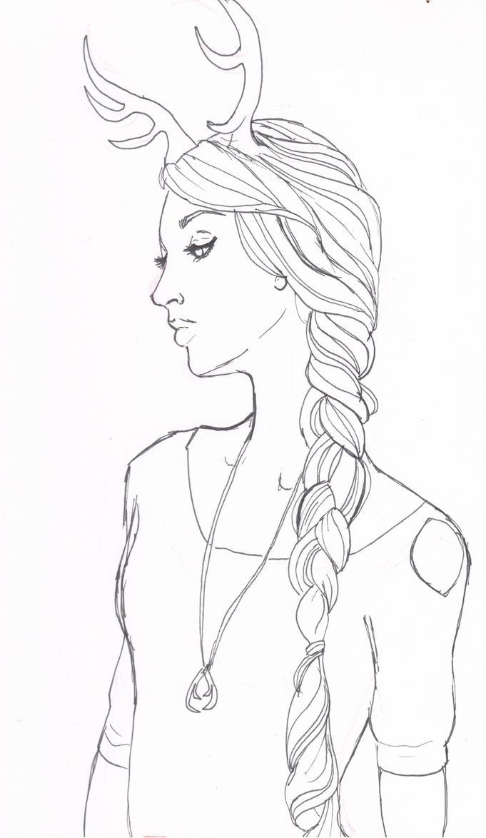 Deer Girl Lineart by NicholeMariee