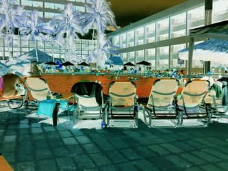 orange soda swimming pool by archaicvisiure