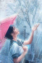 Light Rain and School Girl by minton16