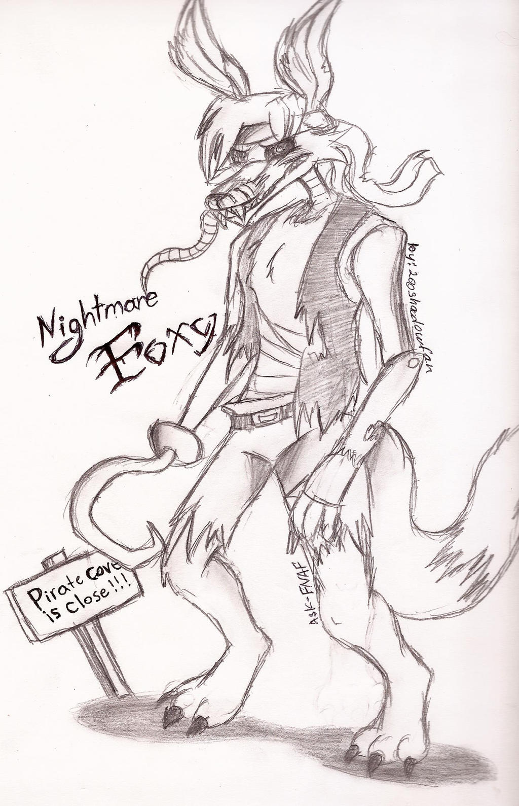 It's just a photo of Crazy Nightmare Foxy Drawing