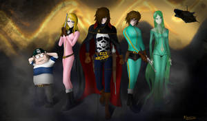 Captain Harlock and the crew of the Arcadia