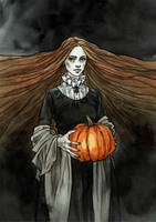 Lady with pumpkin
