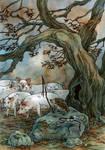 Illustration for Latvian fairytale.
