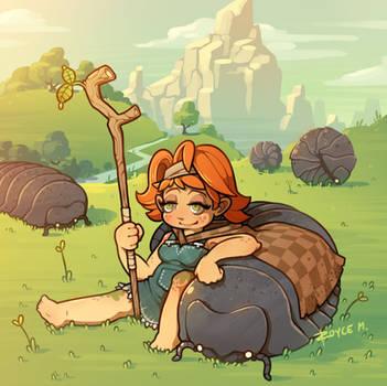 Giant Pillbug Herder Girl by inkopath