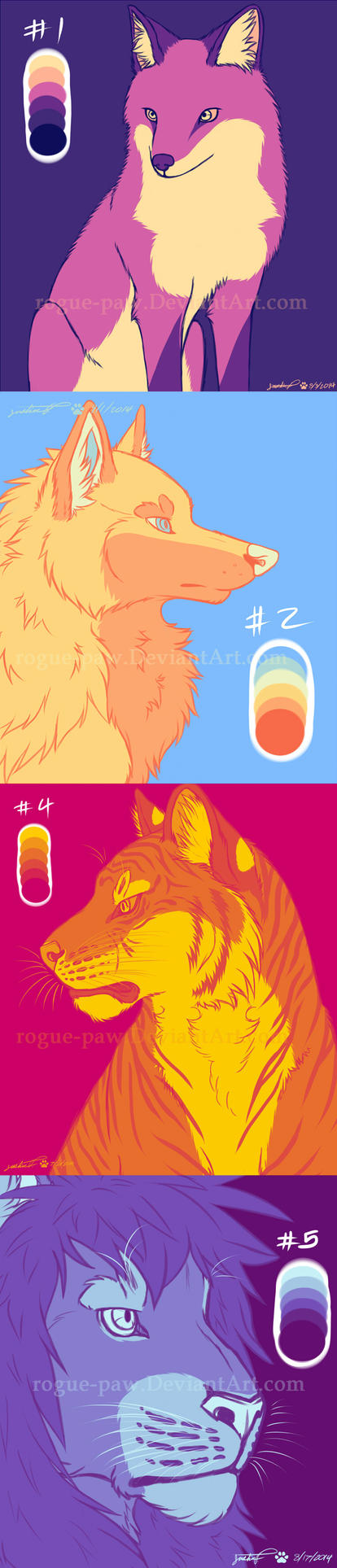 Color Pallet Challenge 1-3, 5 by rogue-paw