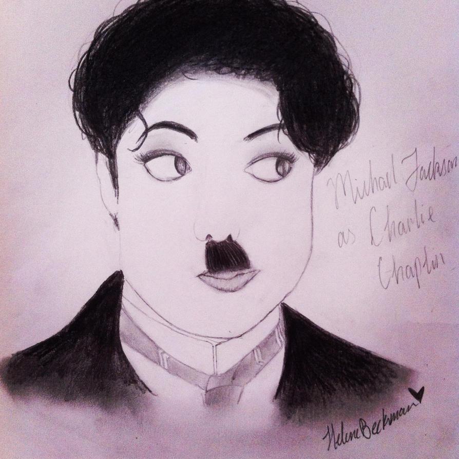 Drawing of Michael Jackson as Charlie Chaplin by HeleneMJlover