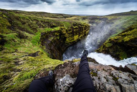 Waterfall underfoot