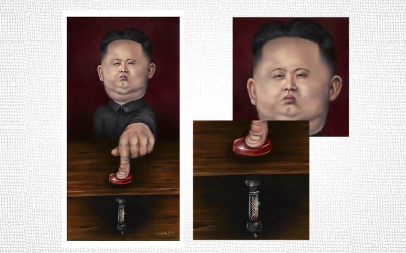 Kim Jug Un finger on the button by jweb3d