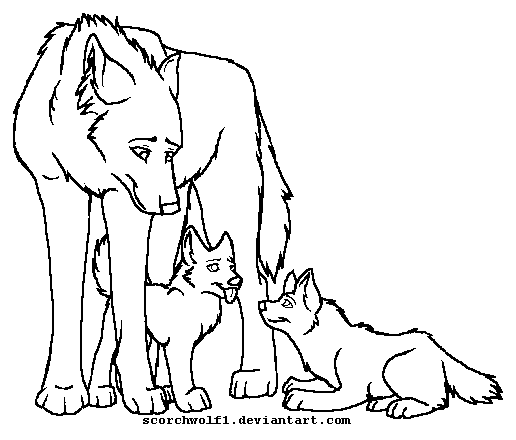 Anime Wolf Coloring Pages Family