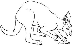 Kangaroo Lineart by ScorchWolf1