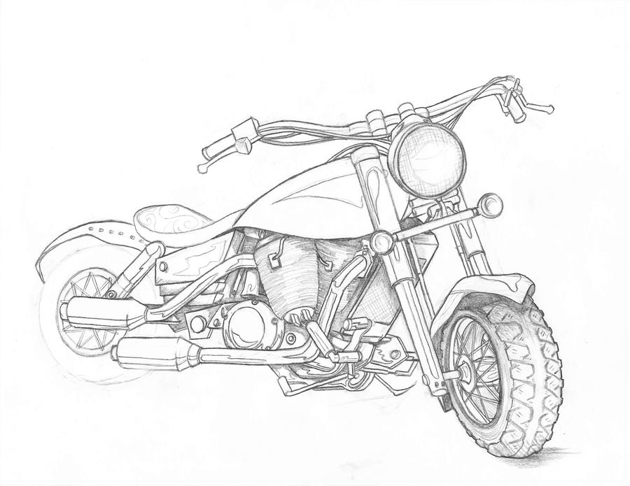 Line Art Motorcycle : Motorcycle study wip by indigowarrior on deviantart