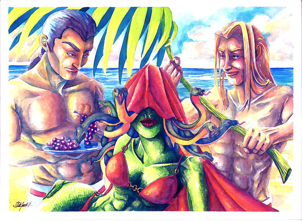 Commission: Medusa on Vacation (Watercolor) by indigowarrior