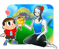 For you miss - Wii Fit Trainer and Villager by RZSTUDIO