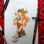 Pirate Pinup Girl tattoo design Speedpaint by DanielRound