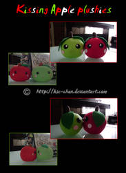 Kissing Apple plushies by Kie-chan