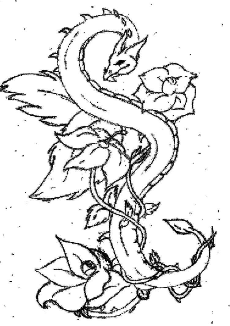 tattoo dragon in flowers by nooddoon on deviantart. Black Bedroom Furniture Sets. Home Design Ideas