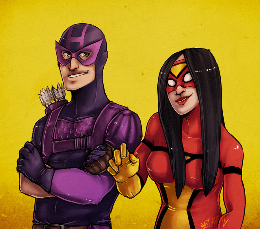 hawkeyeandspiderwoman by tattiOsala