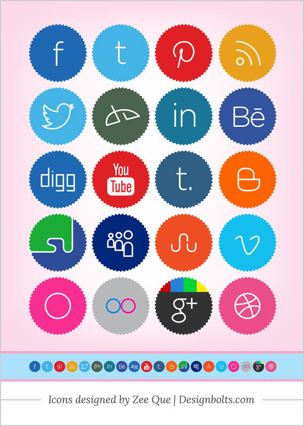 Free Cute Minimalist Social Media Icons by Designbolts
