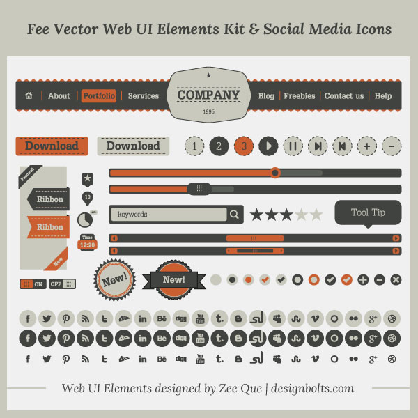 Fee Vector Simple Web UI Elements Kit