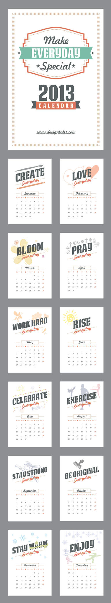 Make Everyday Special Calendar 2013 Printable by Designbolts