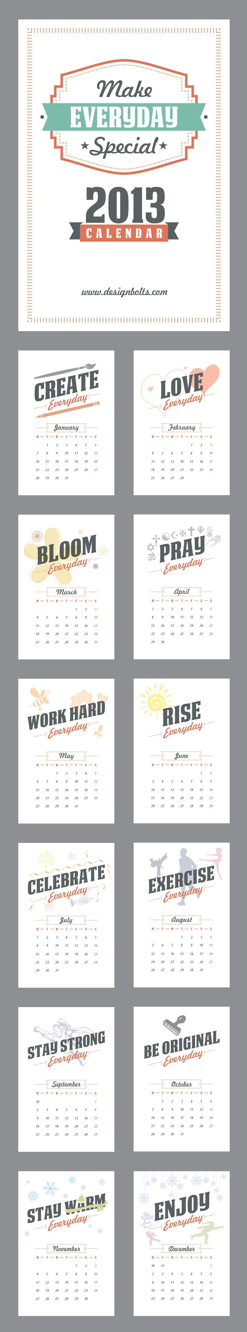Make Everyday Special Calendar 2013 Printable by Designbolts