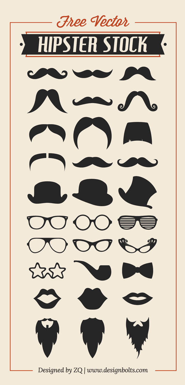 Free Vector Hipster Stock by Designbolts