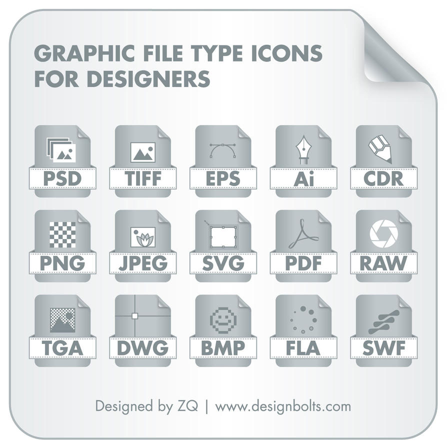 Graphic File Type Icons Set by Designbolts