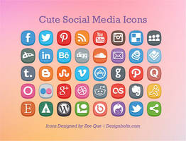 Free Cute Social Media Icons by Designbolts