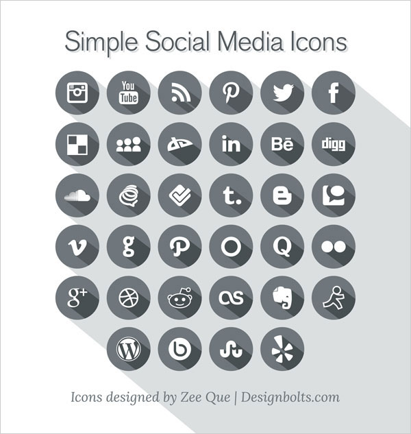 Free Long Shadow Simple Social Media Icons 2013 by Designbolts