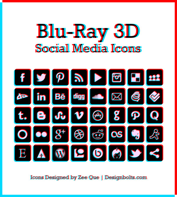 Blu-Ray 3D Social Media Icons by Designbolts