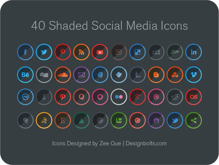 40 Free Shaded Social Media Icons by Designbolts