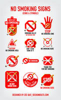 No Smoking Signs, Icons and symbols by Designbolts