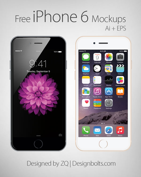 Free Vector Apple iPhone 6 mockup by Designbolts