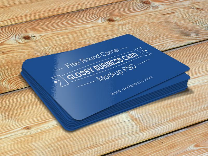 Free Round Corner Glossy Business Card Mockup Psd by Designbolts