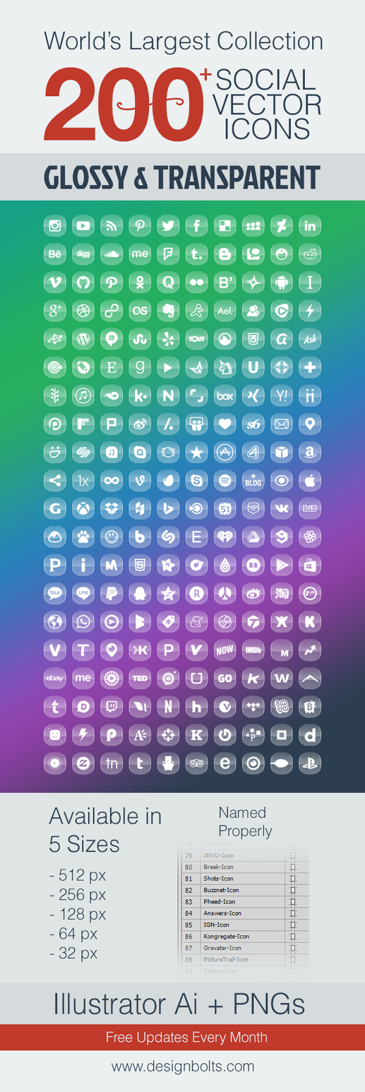 200 Glossy Transparent Social Media Icons by Designbolts