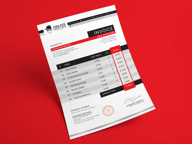 Free Professional Business Invoice Design Template by Designbolts