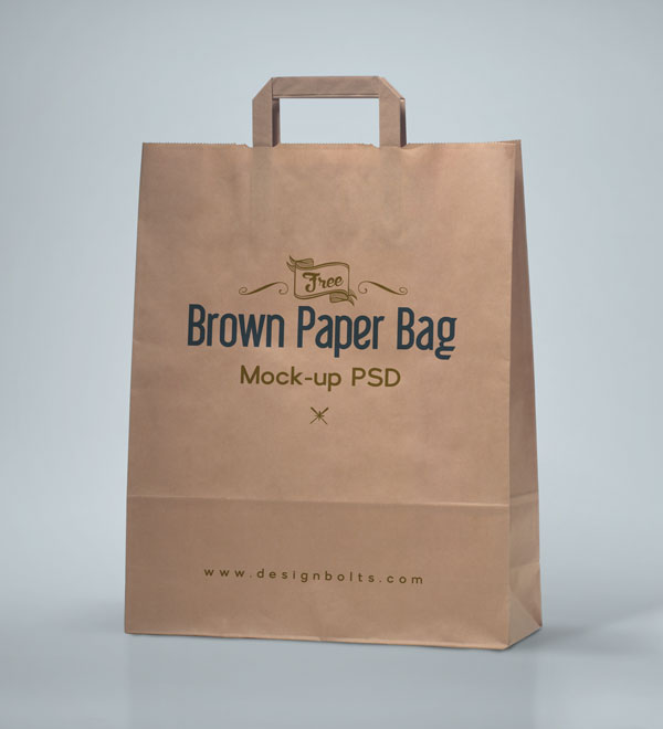 Free Brown Paper Shopping Bag Packaging MockUp PSD by Designbolts