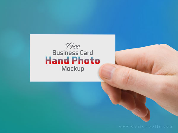 Free Business Card Hand Photo Mockup PSD by Designbolts
