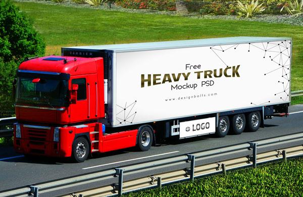 Free Vehicle Branding Heavy Duty Truck Mock-up PSD by Designbolts