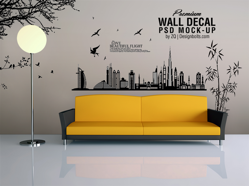 Free Vinyl Wall Art Decal Sticker Mockup Psd File by Designbolts on