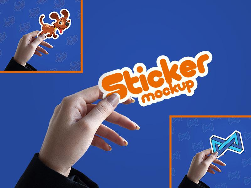 Free Sticker Mockup PSD by Designbolts