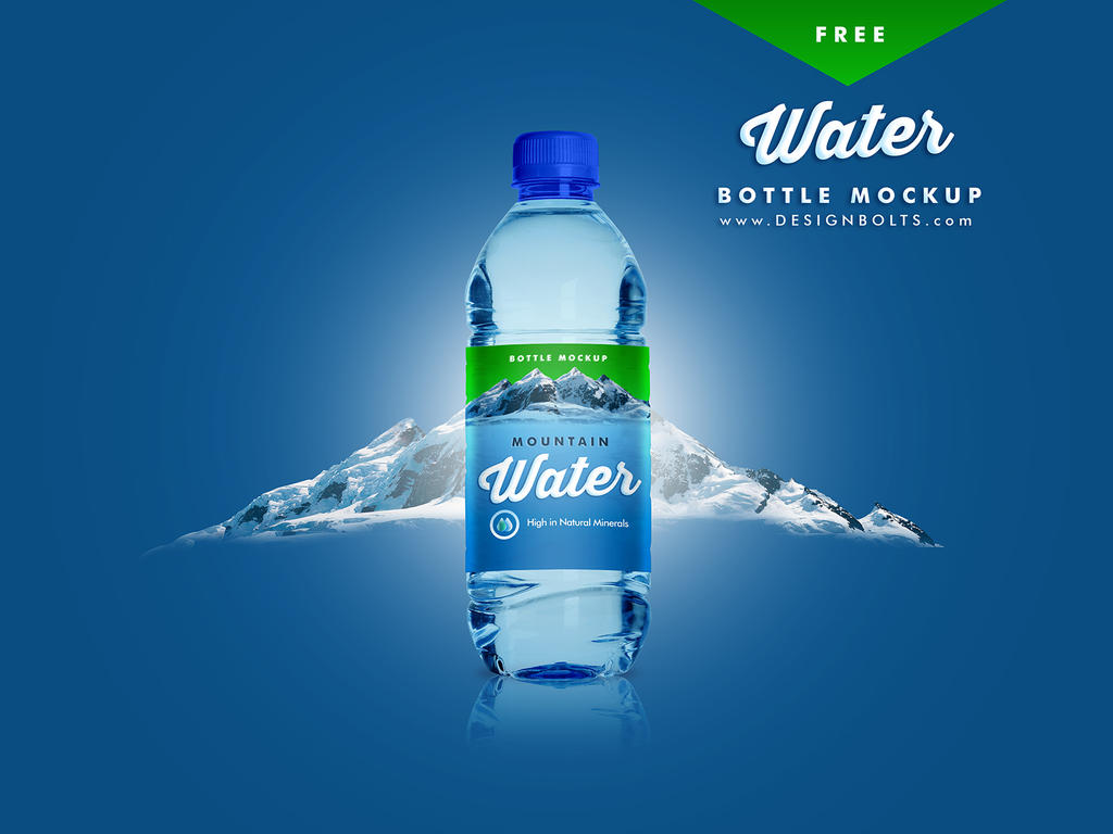 Free PET Water Bottle Mockup PSD by Designbolts
