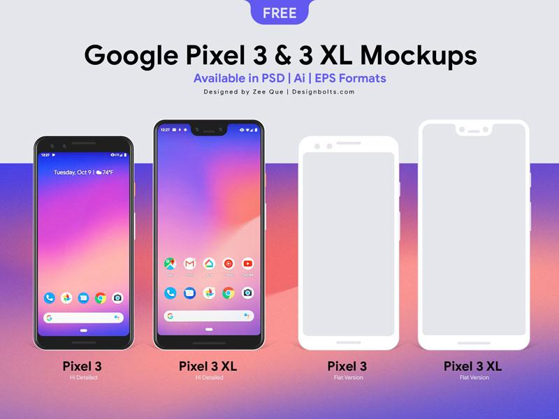 Free Google Pixel 3 / Pixel 3 XL Mockup PSD Ai EPS by Designbolts